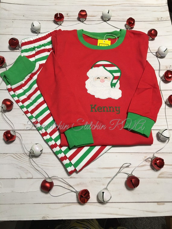 Christmas Pajamas, Jammies, Kids Personalized Christmas Pajamas, Boys Pajamas, Girls Pajamas, Toddler Pajamas, Candycane Stripe PJ's