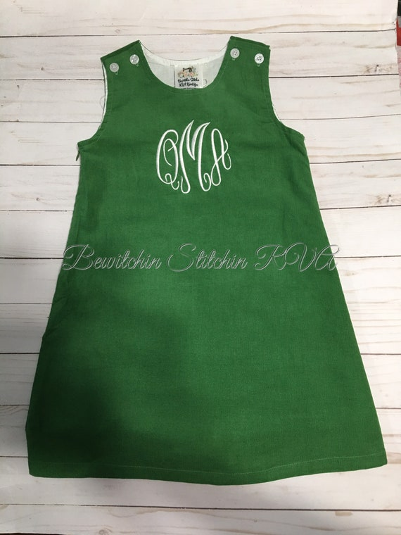 Monogrammed Corduroy Jumper Dress, Green Jumper, Christmas Dress, Corduroy, Fully Lined, toddlers, girls, navy, green, brown, Personalized