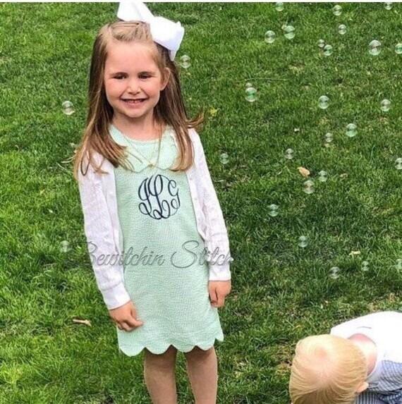 Monogrammed Scalloped Seersucker Dress, Toddlers, Girls, Pink, Purple, Blue, Green, Personalized