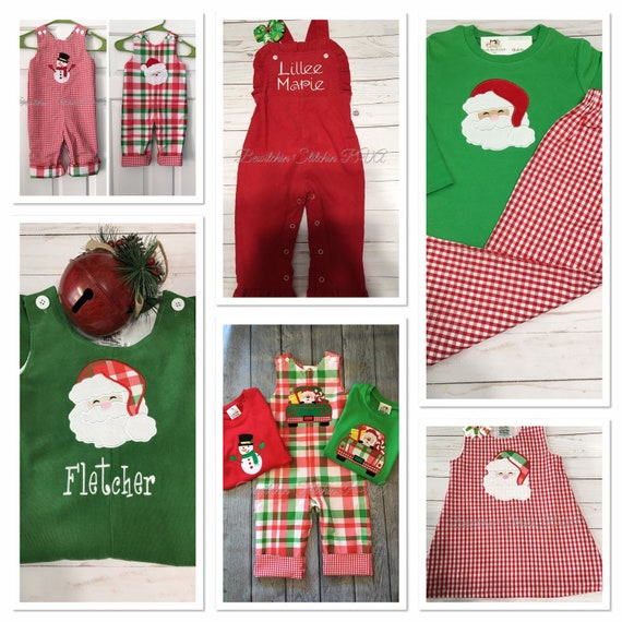 Personalized Christmas Sibling Outfits, Girls Reversible Jumper, Toddler Reversible Longall, Boys Reversible Pants and Tee, Custom
