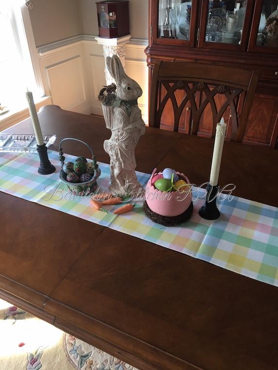 Monogrammed Reversible Pastel Table Runner, Pastel Buffalo Check Table Runner, Pastel Plaid Table Runner, Farmhouse Table Runner