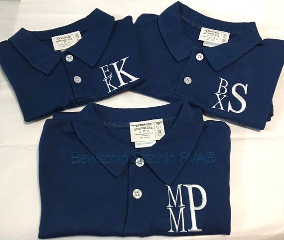 Personalized Polo Shirt, Baby, Toddler, Boys, White, Navy Blue, Light Blue