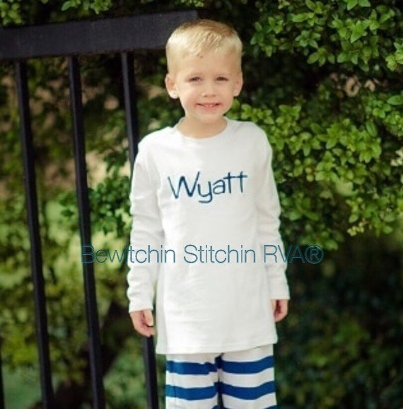 Personalized Long Sleeve T-Shirt, T Shirt, Tee, Boys, Toddlers, Babies, Navy, Red, White
