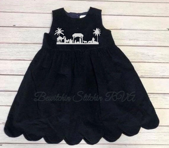 Monogrammed Nativity Corduroy Jumper Dress, Corduroy Dress, Navy Dress, Navy Jumper, Girls, Toddlers, BabiesShips Free