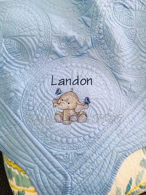 Monogrammed Baby Quilt, White Heirloom Quilt, Monogrammed Quilt, White Blanket, Pink, Blue, Teal, Mint, Purple, Gray