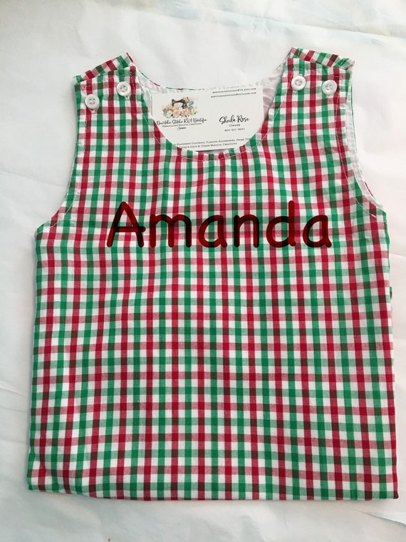 Personalized Baby Christmas Plaid Jumper Dress, Christmas Plaid Toddler Jumper, Christmas Plaid Baby Jumper, Monogrammed