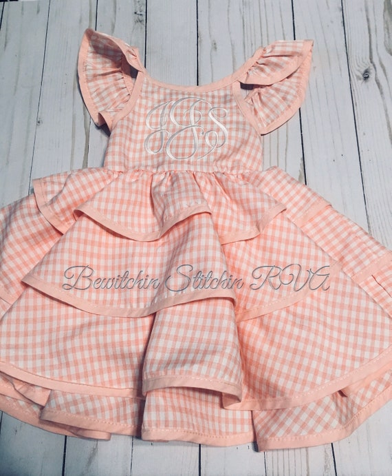 Personalized Coral Pink Gingham Sundress, Toddler Gingham Sundress, Girl Gingham Sundress, Angel Sleeve Pink Gingham Sundress