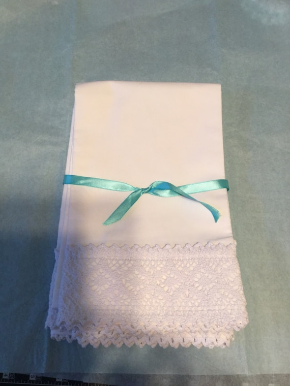 Pillowcase Set of 2, White, Crochet Lace Trim,  Personalized, Queen Size, Vintage Inspired