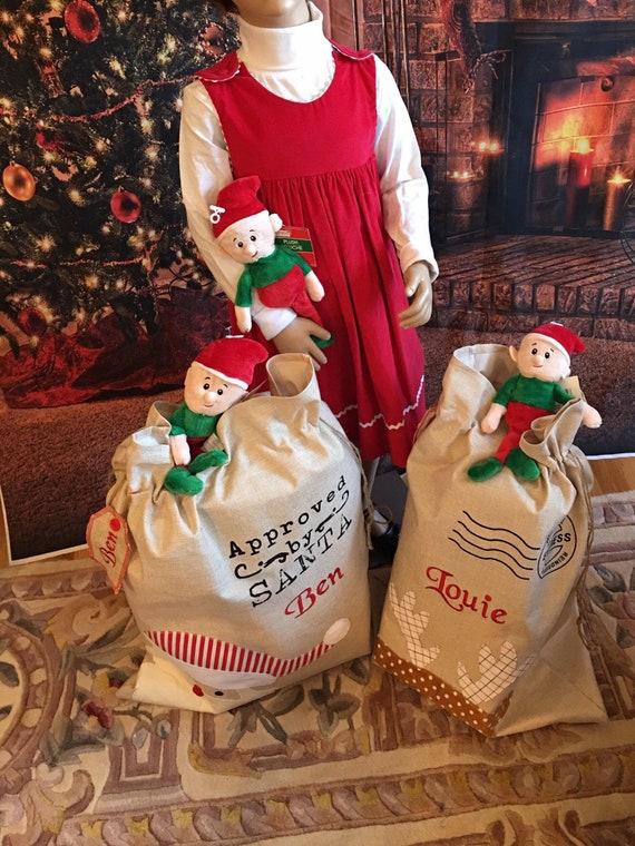 Personalized Santa Bag, Santa Present Bag, Santa Bag, Christmas Sack, Reindeer, Santa, Jute/Linen, EMBROIDERED, NOT VINYL