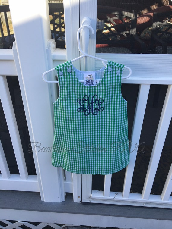 Monogrammed Gingham Jumper Dress, Gingham Dress, Girls Gingham Dress, Babies, Toddlers, Girls, navy, red, green, maroon, black