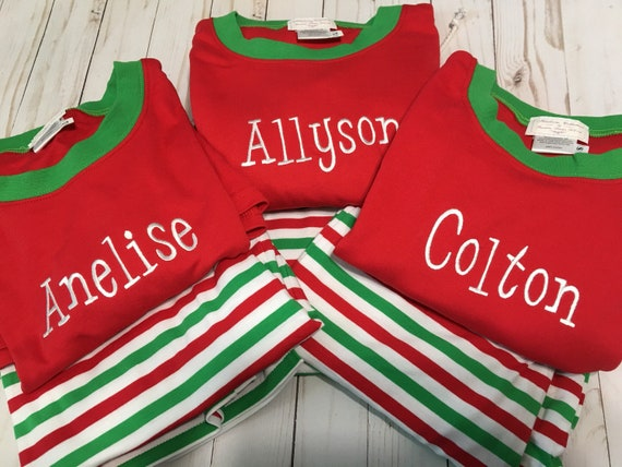 Adult Christmas Pajamas, Personalized Christmas Pajamas, Unisex Christmas Pajamas, Red/Green/White Stripe, Candy Cane Stripes