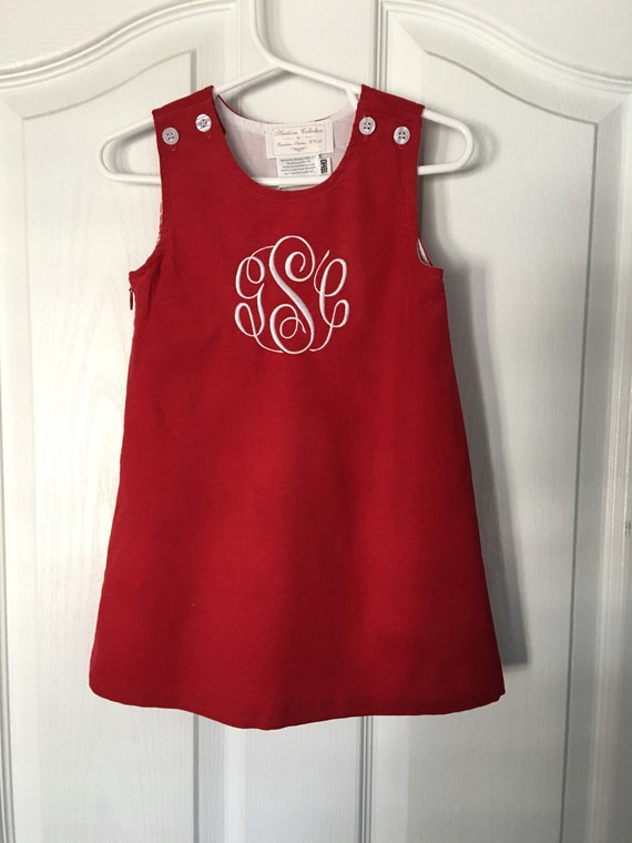 Monogrammed Red Jumper Dress, Christmas Dress, Corduroy, Fully Lined, toddlers, girls, navy, green, brown, Personalized, Ships Free