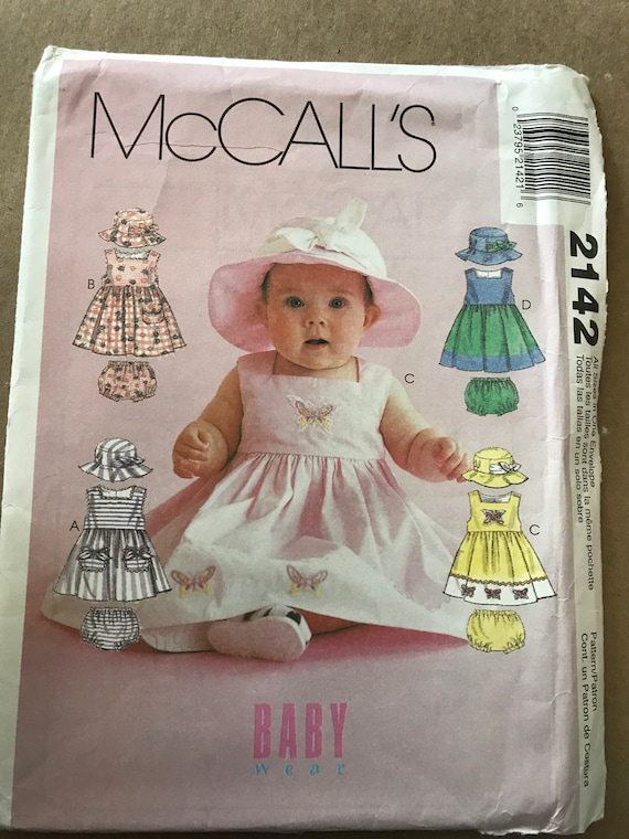 McCalls Baby Wear Summer Dresses and Bucket Hats, Sizes Sm to XL, New, Uncut, FF
