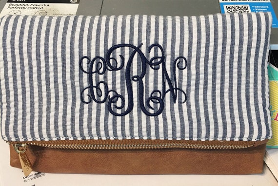 Monogrammed Blue Seersucker Crossbody Purse, Blue Seersucker Clutch, Blue Seersucker Handbag, Personalized Blue Seersucker Handbag
