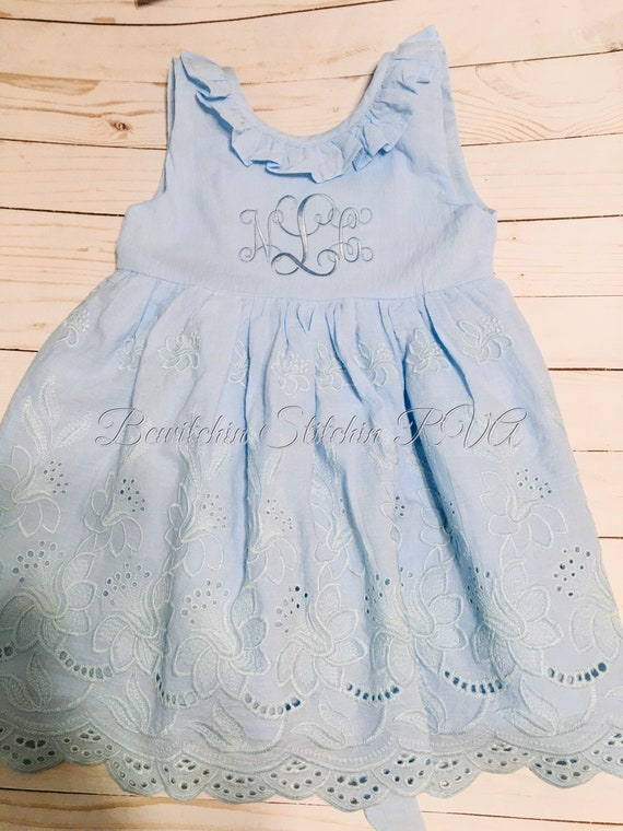 Personalized Blue Eyelet Easter Dress, Girls Blue Eyelet Dress, Toddler Blue Eyelet Dress, Eyelet Dress, Monogrammed Blue Eyelet Dress