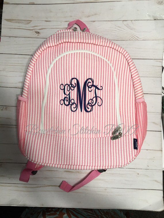 Personalized Pink Seersucker Backpack and Lunch Set, Personalized Full Size Seersucker Backpack, Pink Backpack, Pink Lunch Box