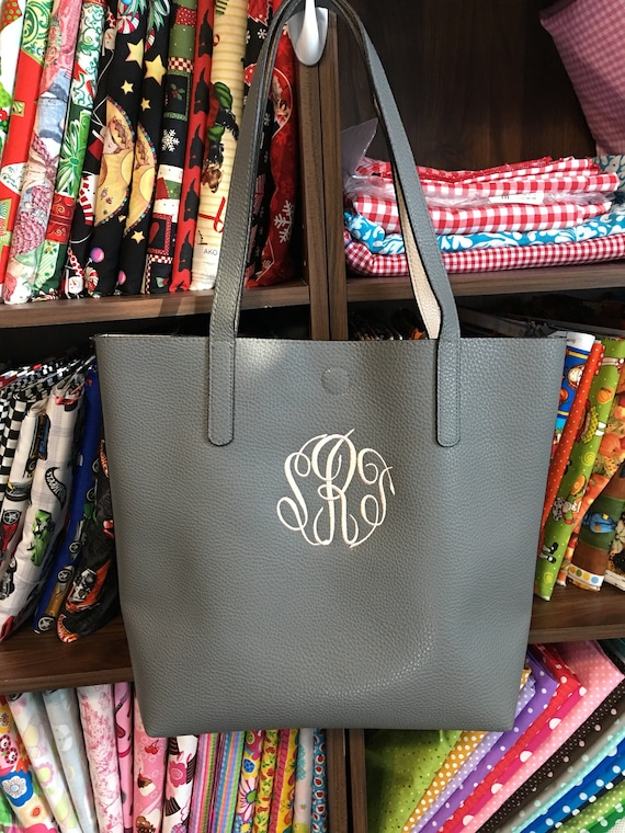 Personalized Vegan Leather Tote Bag, Purse, Coordinating Color Interior, Embroidered, Monogrammed, Pebble Grained Tote