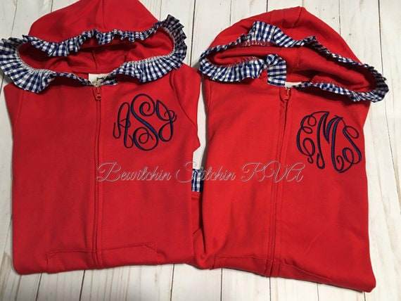 Personalized Girls Zip Front Hooded Jacket, Cotton Knit Ruffled Hooded Jacket,  Hooded Jacket with Ruffled Gingham Trim