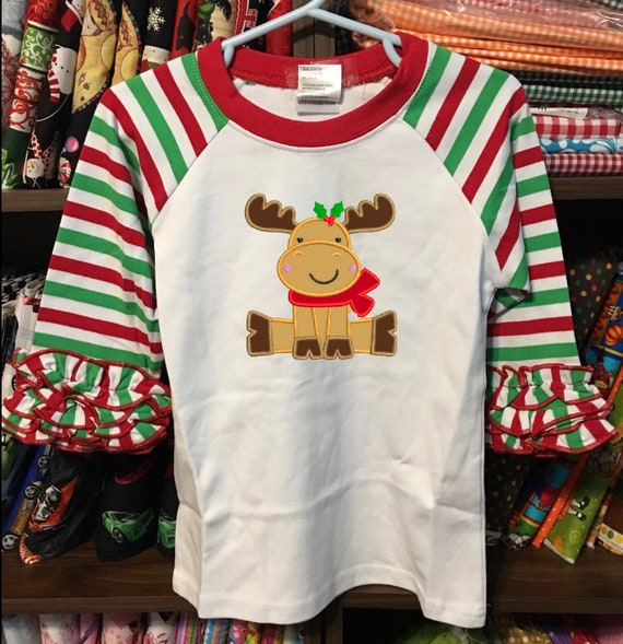 Personalized Ruffled Sleeve Raglan Top, Christmas Raglan, Girls Icing Sleeve Raglan Tee, white, red, green, striped sleeve shirt