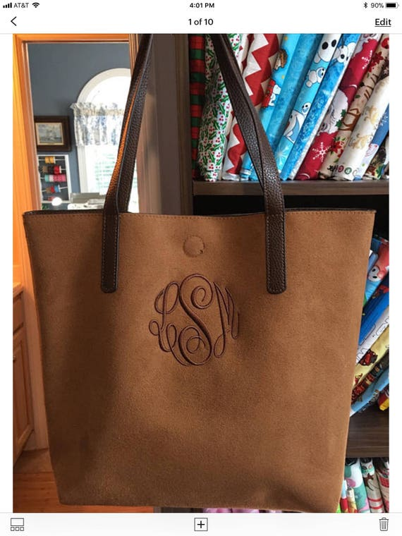SALE Monogrammed Vegan Leather Tote Bag, Zippered Cosmetic Pouch, Detachable Cross-Body Shoulder Strap, Convertible Tote Bag Purse