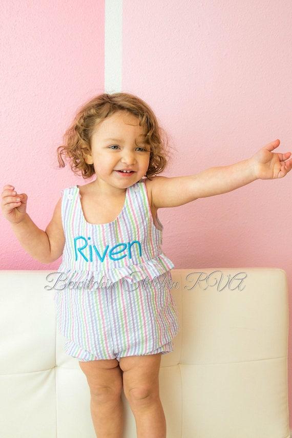 Personalized Seersucker Ruffled Sunsuit Romper, Baby Romper, Toddler Romper, Multi Pastel Stripe