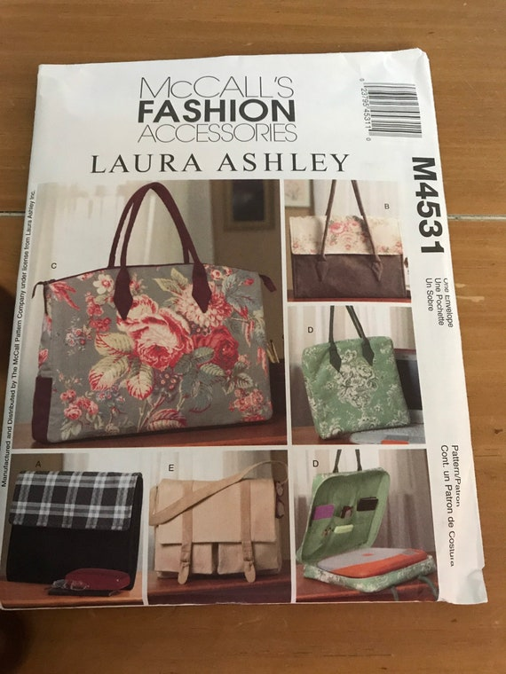 Business Tote Sewing  Pattern, McCalls M4531, Laura Ashley Fashion Accessories   FF, Uncut, SHIPS Free