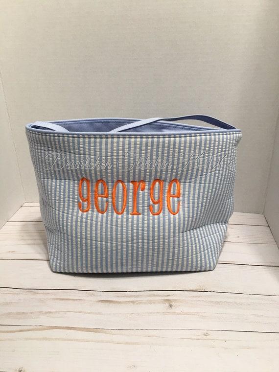 Monogrammed Blue Seersucker Basket, Seersucker Easter Bucket, Seersucker Easter Egg Tote, Embroidered, NOT VINYL