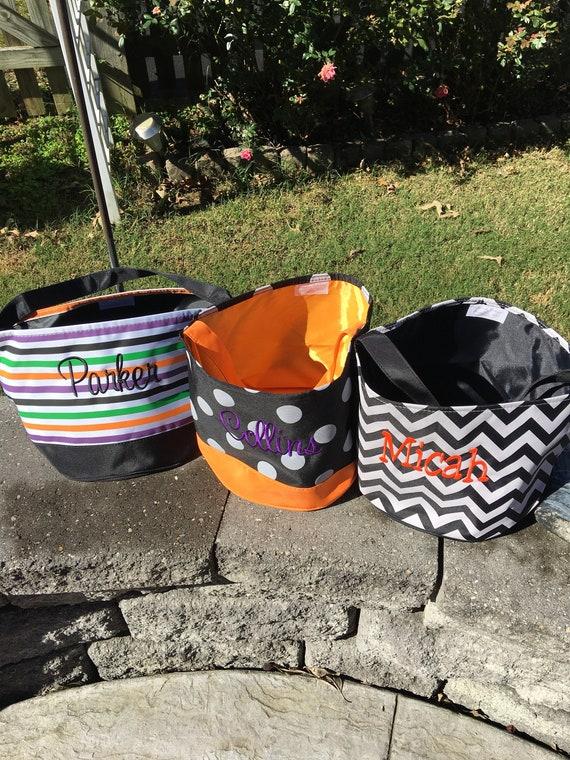 SALE Personalized Halloween Bucket Tote, Halloween Bucket, Halloween Bag, Canvas Bag, Treat Bag, Embroidered
