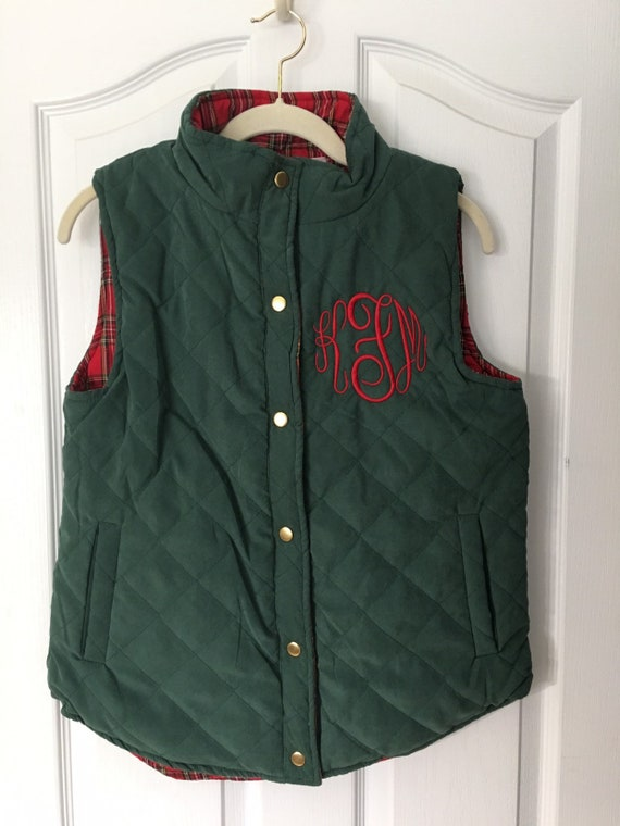 Quilted Reversible Vest, Personalized Ladies Vest, Hunter Green, Plaid Lining, Embroidered
