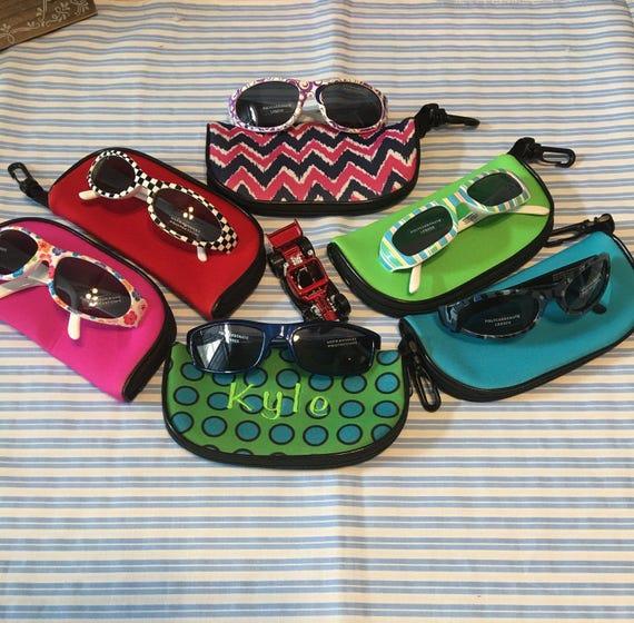 Kid's Sunglasses, Zippered Case, Monogramned, Eyewear Case, Zipper Closing, Hanging Clip