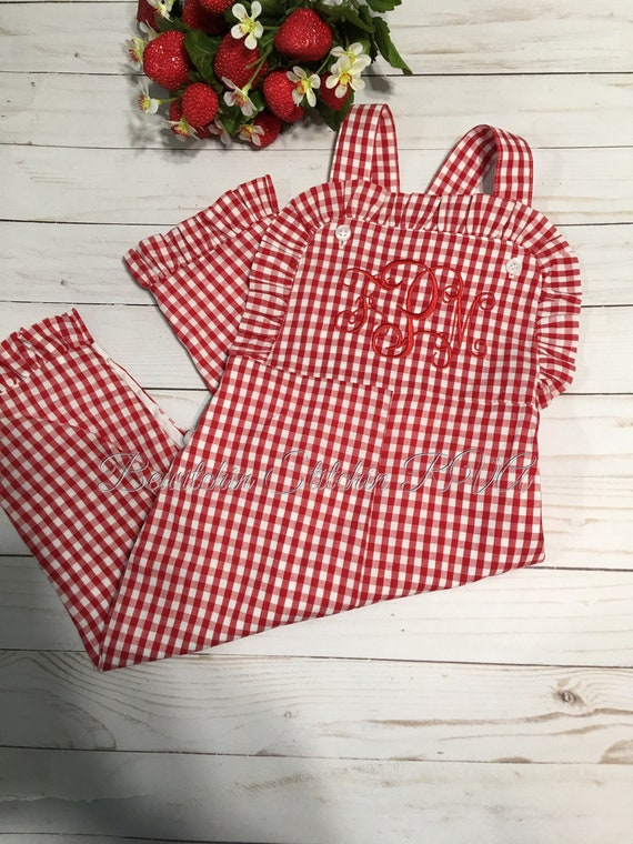 Personalized Girls Ruffled Red Gingham Longall, Girls Corduroy Longall, Girls Gingham Bib Overalls, Monogrammed Corduroy Bib Romper