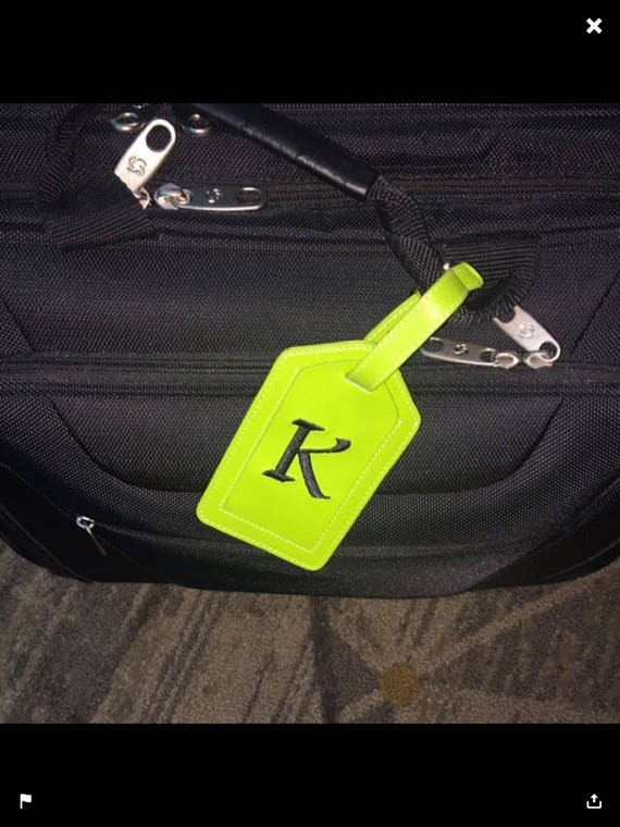 Personalized Leather Luggage Tag, Monogrammed Leather Luggage Tag, Wide Range of Colors