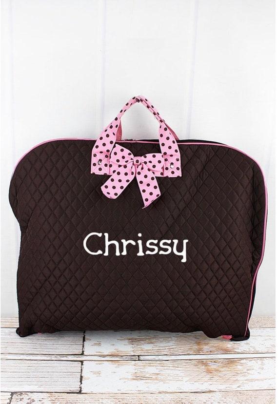 Personalized Brown Quilted Garment Bag, Cheer Leader Garment Bag, Dance Recital Costume Bag, Travel Garment Bag