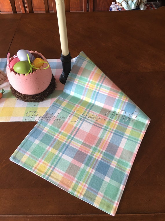 Personalized Reversible Pastel Table Runner, Pastel Buffalo Check Table Runner, Pastel Plaid Table Runner, Farmhouse Table Runner