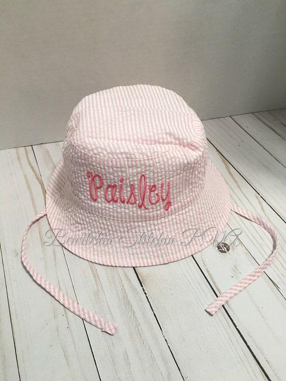 Personalized Green Seersucker Bucket Hat, Blue Bucket Hat, Pink Seersucker Bucket Hat, Lavender Bucket Hat, Seersucker Bucket Hat