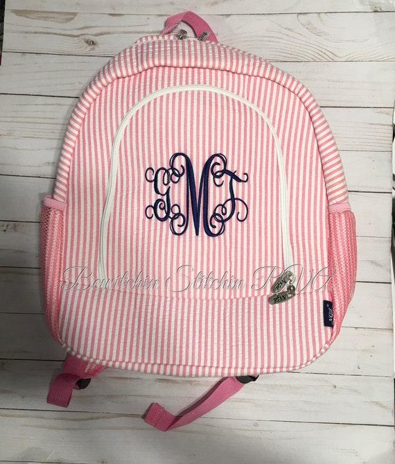 Monogrammed Pink Seersucker Backpack Set, Personalized Seersucker Backpack, Full Size Pink Backpack, Pink Book Bag, Pink School Bag