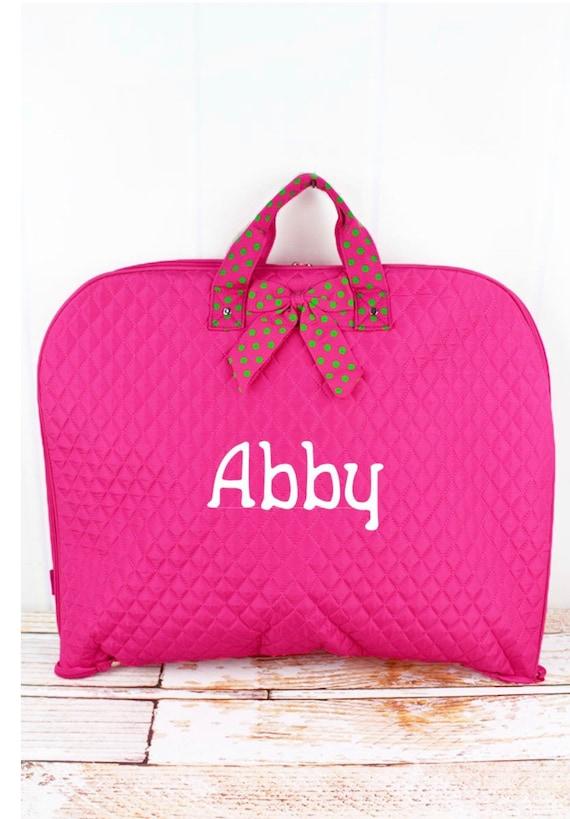 Personalized Hot Pink Quilted Garment Bag, Bridesmaid Weekend Bag, Bridal Gift Bag, Travel Garment Bag
