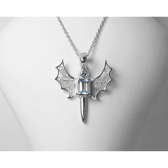 Wing and Sword Necklace with Natural Blue Topaz Gemstone, Sterling Silver  Wing Sword Pendant, Medieval Weapon Jewelry, Silver Filigree