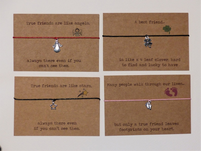 Goodbye gift Wish Bracelet with Poem Personalised optional Choice of colours. Friends are like stars Best Friend Birthday gift
