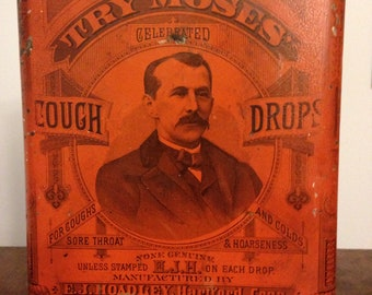 Antique store tin litho Try Moses Cough Drops EJ Hoadley