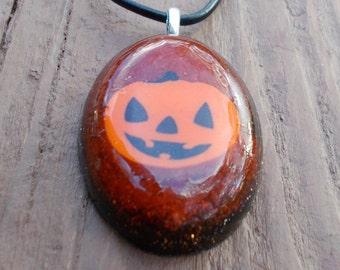 Orange Sparkly Pumpkin necklace