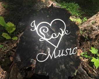 """Metalwork sign """"I love Music"""" quote"""