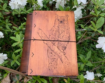 Hand-carved Wood and Leather Planner Cover, Datebook, Traveler's Notebook, Journal, Diary, Sketchbook, book cover, owl design