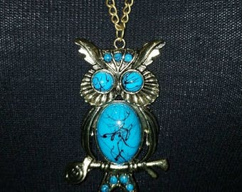 Owl Necklace vintage antiqued look fashion jewelry