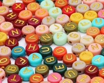 Letter Beads 7MM x 4MM Alphabet Beads Letter Beads Spacer Multicolored Beads Multicolor Beads w/ Gold Letters Acrylic Beads