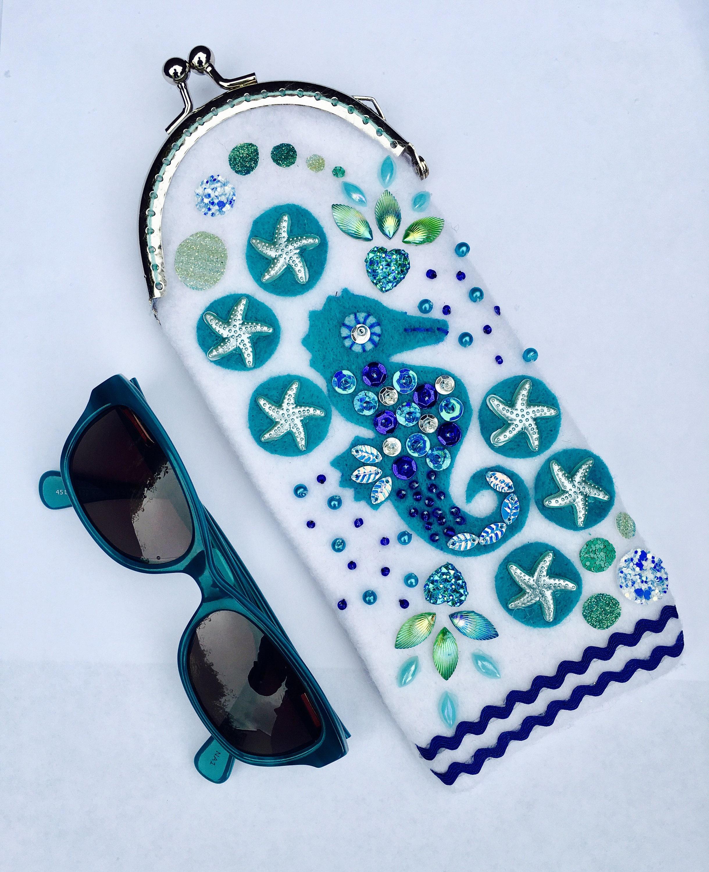 Prickelnde nautischen Seepferdchen Sonnenbrille Brillenetui | Etsy