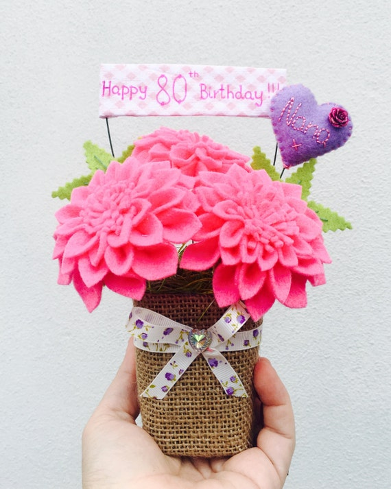 Personalised Felt Dahlia Flower Bouquet Birthday Gift For