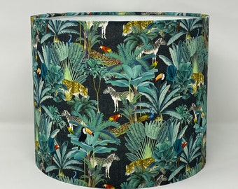 Colourful tropical drum lampshade with charcoal background