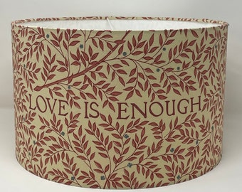 William Morris Love Is Enough handmade drum lampshade