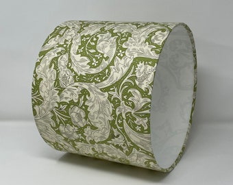 Batchelors button green drum lampshade in a William Morris design